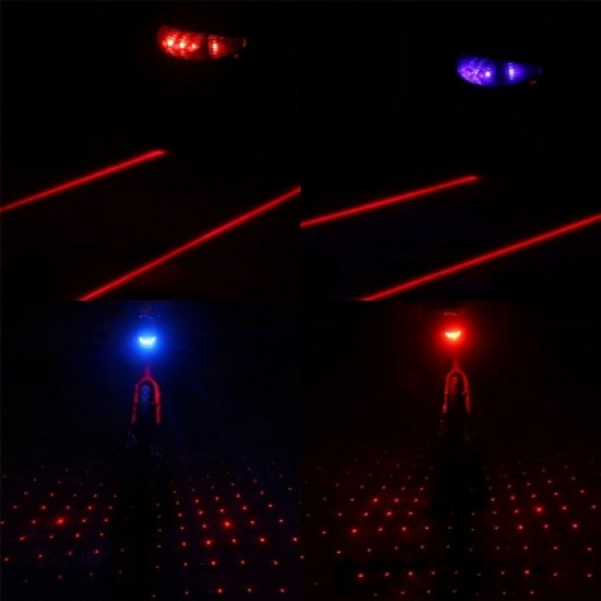 Bicycle Rear Tail Safety Warning Light 5 LED 2 Laser Flashing Starfish Lamp